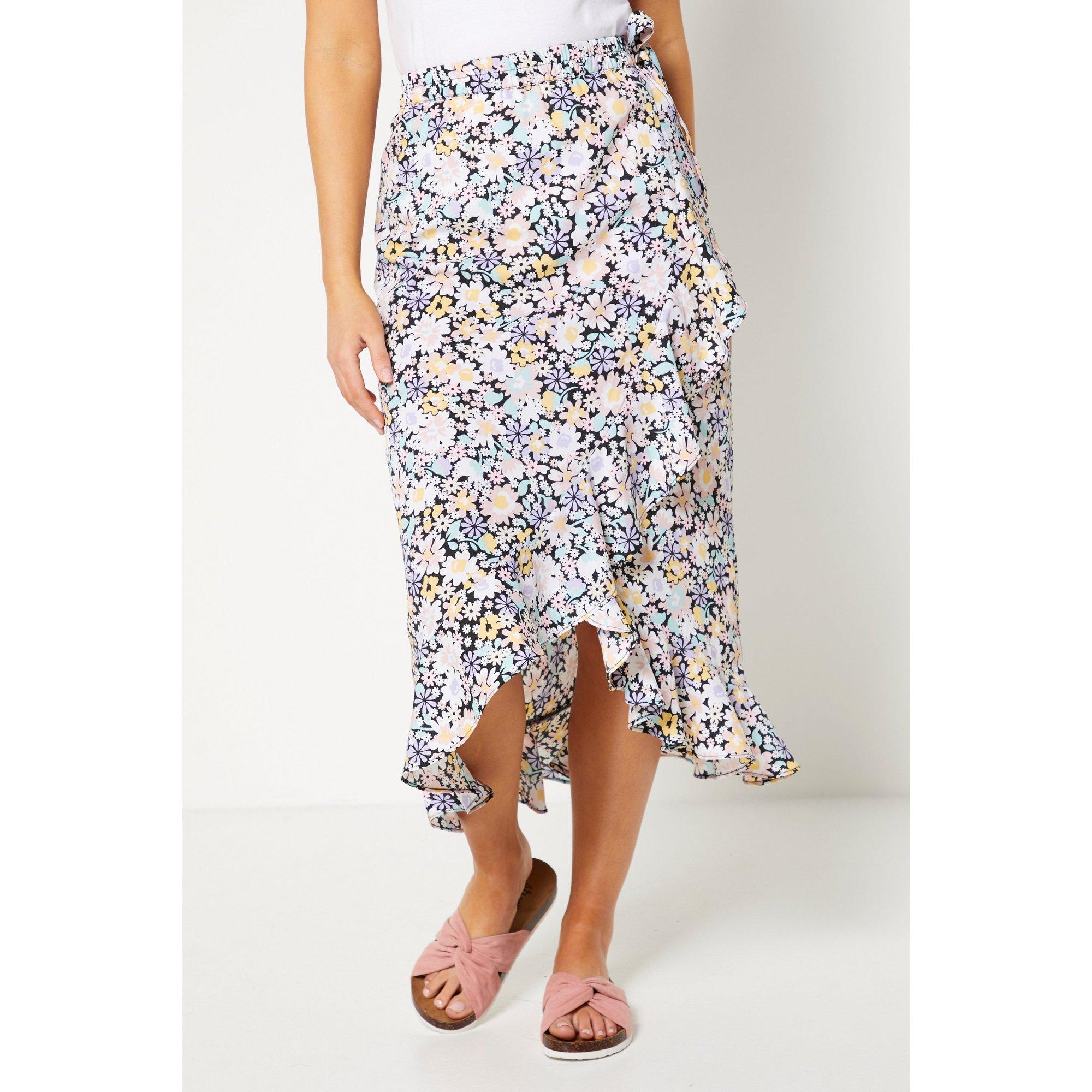 Image of Bloom Floral Print Wrap Midi Skirt