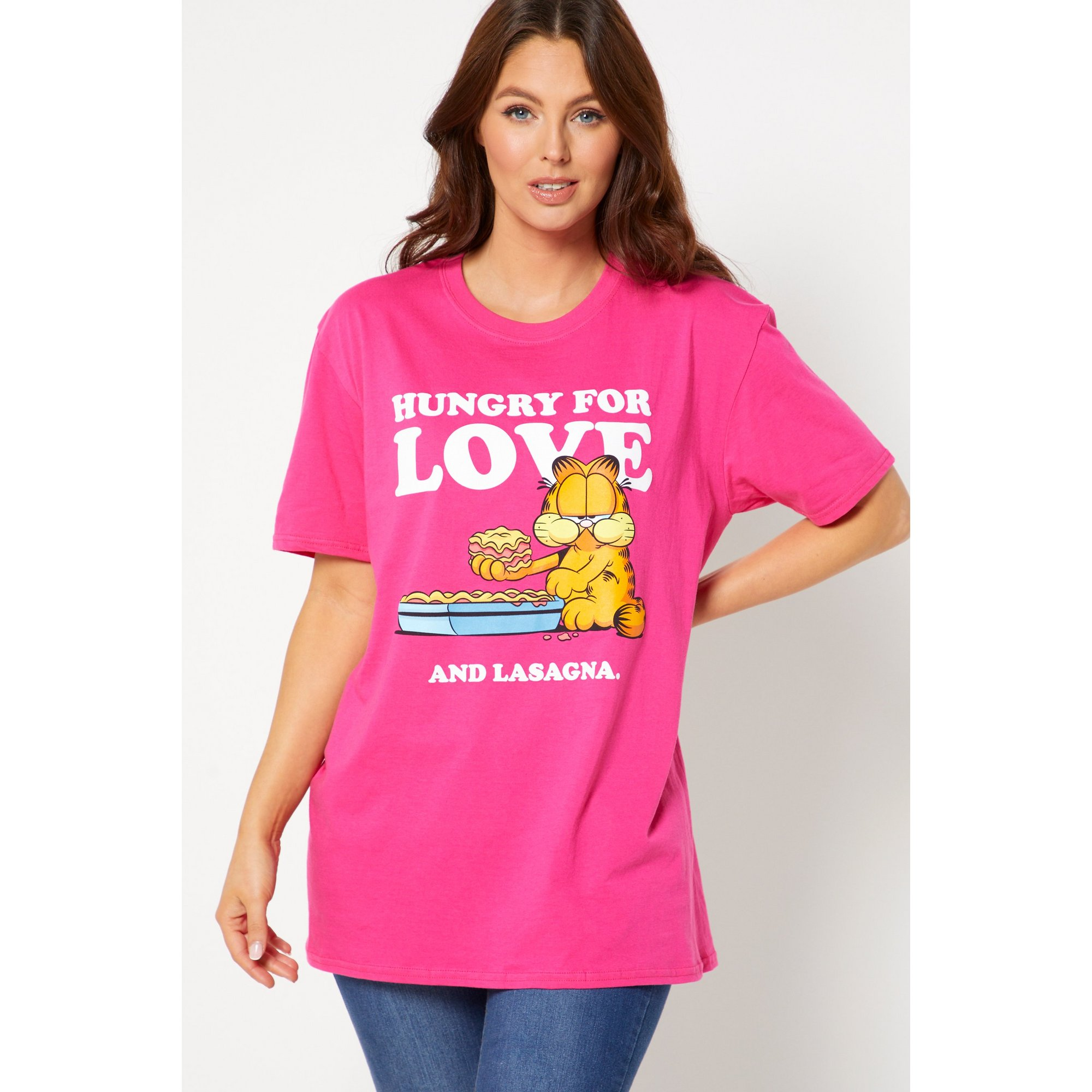 Image of Garfield Hungry for Love Pink T-Shirt