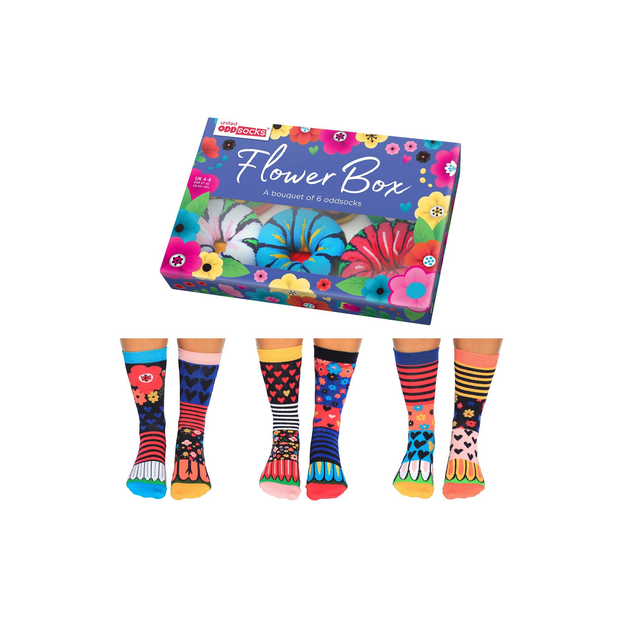 Image of Flowerbox A Bouquet of 6 Oddsocks