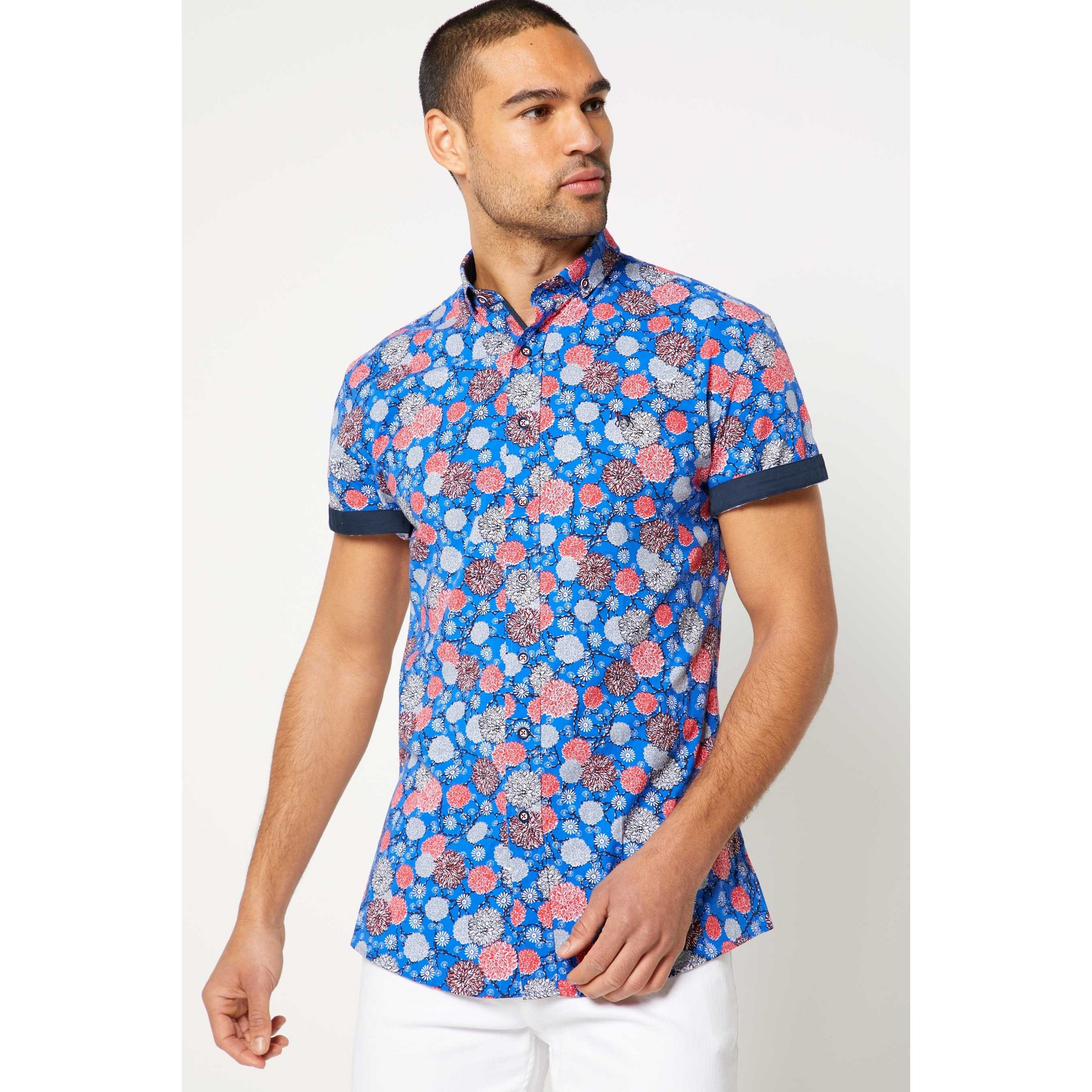Image of Bewley and Ritch Clover Cobalt Short Sleeve Shirt