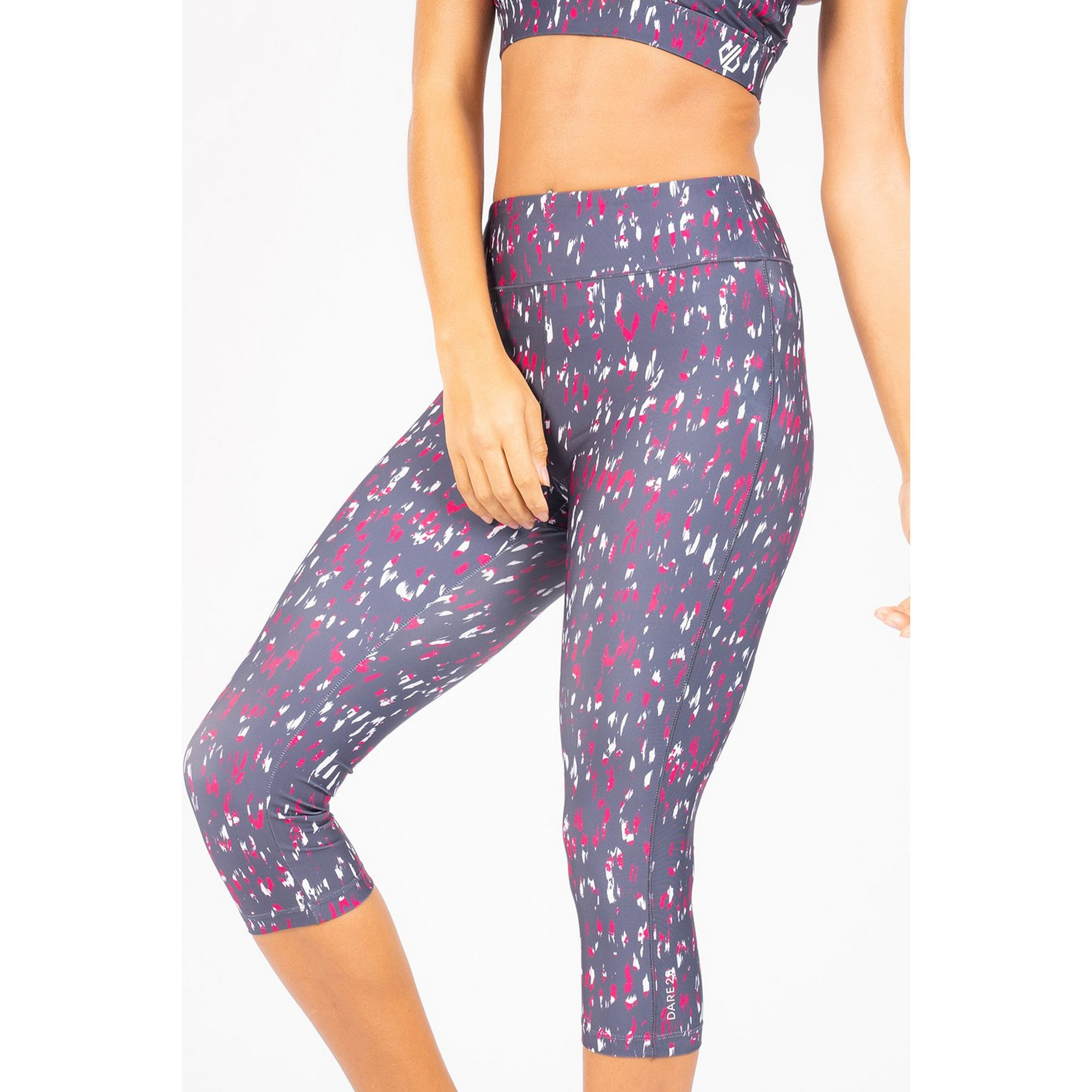 Image of Dare2B Laura Whitmore Active Pink Leopard Influential 3/4 Leggings