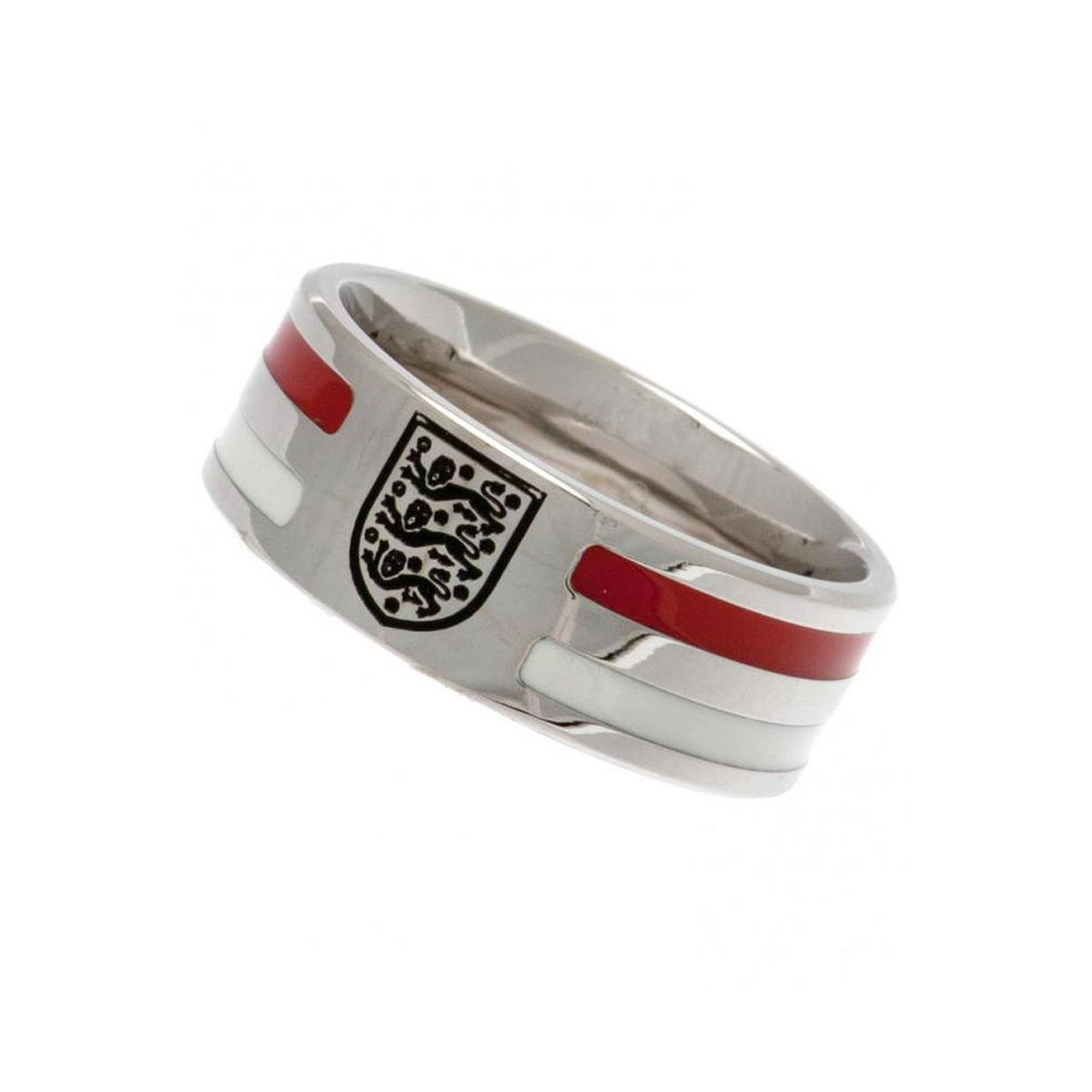 Image of England FC Stainless Steel Striped Crest Ring