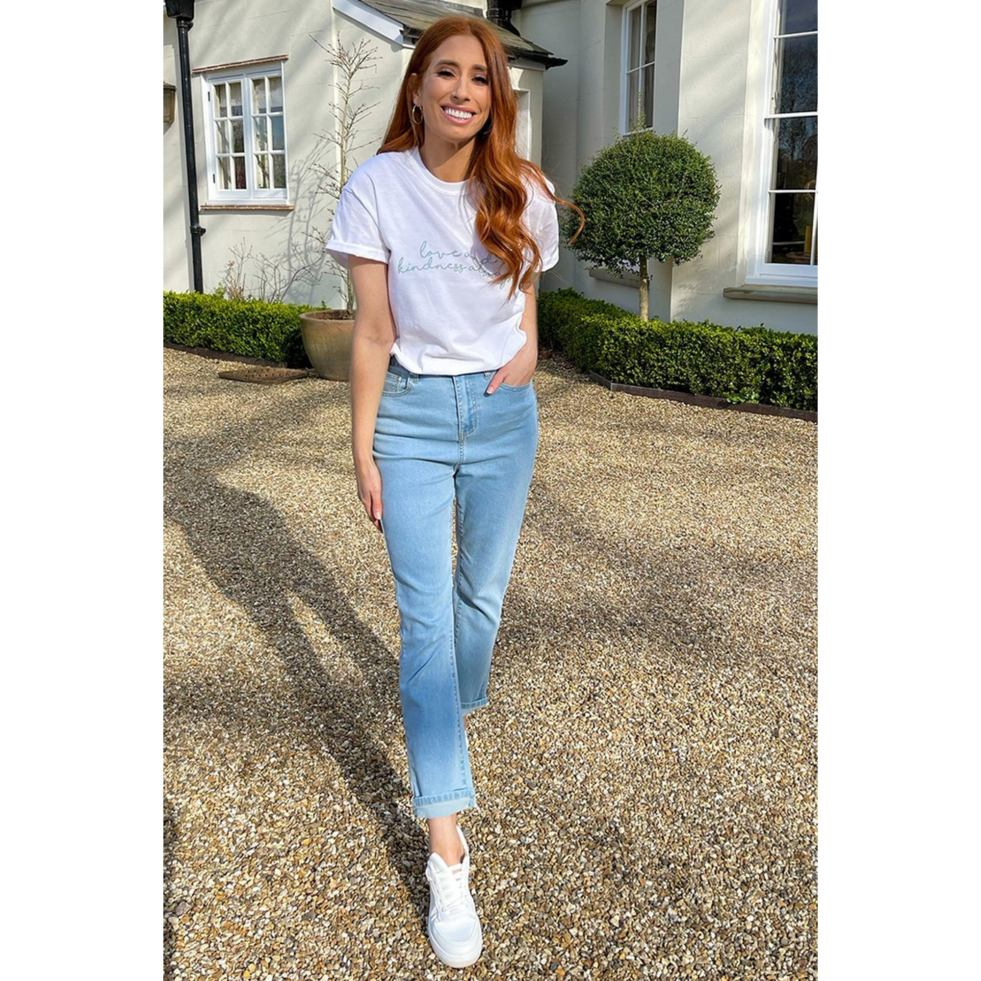 Image of Stacey Solomon Blue Denim Cropped Jeans