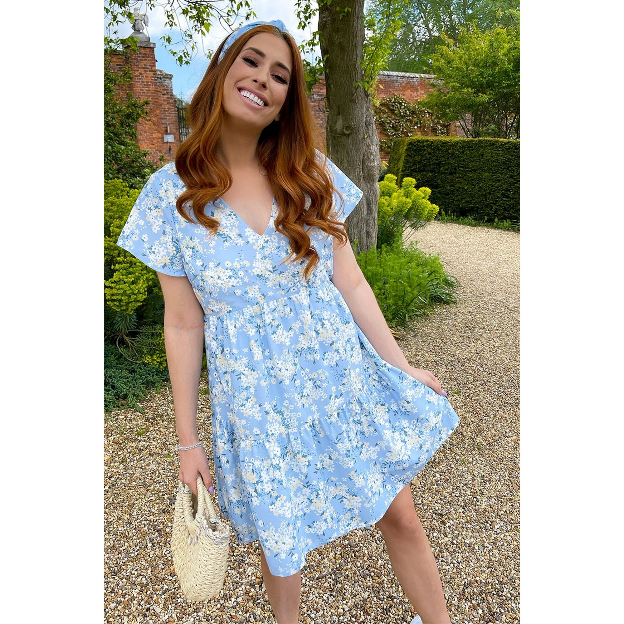 Image of Stacey Solomon Blue Floral Flippy Sleeve Tiered Day Dress