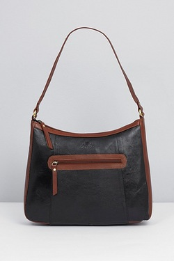 Leather Contrast Shoulder Bag