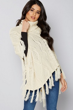 Cable Knit Poncho - Cream