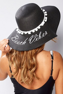 Beach Vibes Embroidered Straw Hat