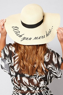 Wish you Where Here Embroidered Straw Hat