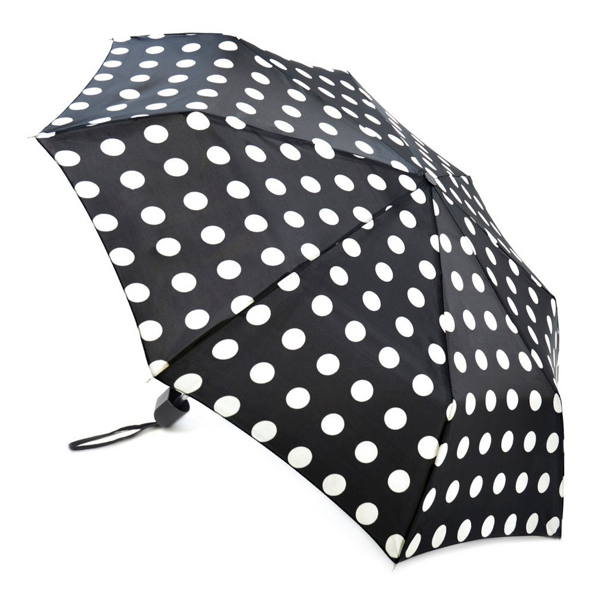 Image of Black Polka Dot Supermini Umbrella