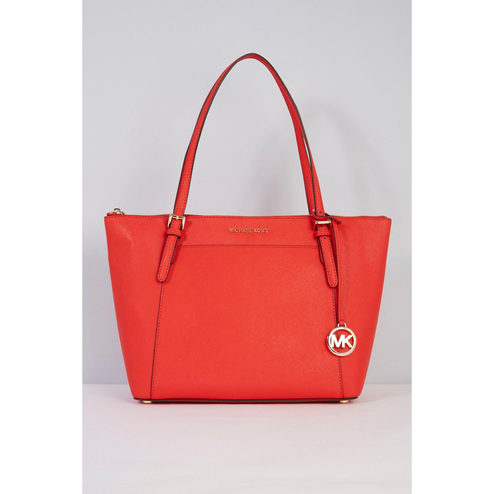Image of Michael Kors Ciara Red Leather Tote Bag