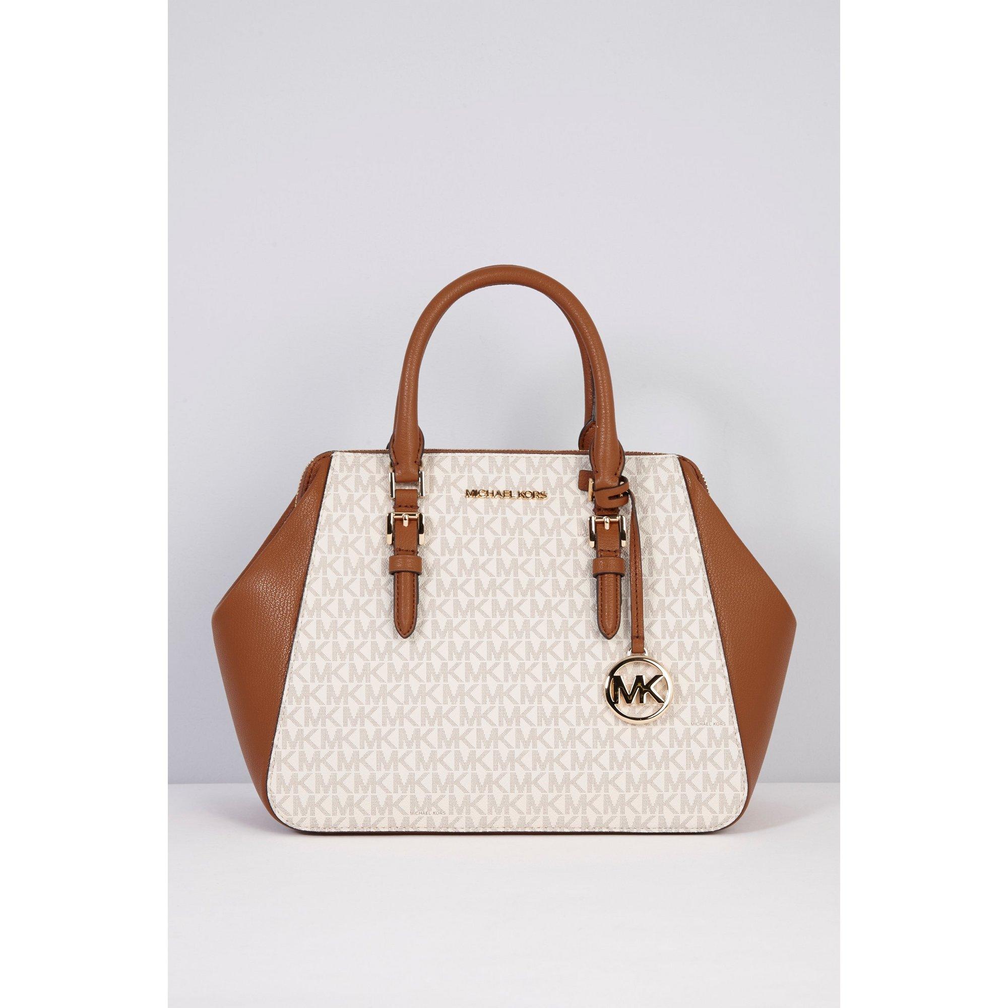 Image of Michael Kors Charlotte Satchel Vanilla Bag