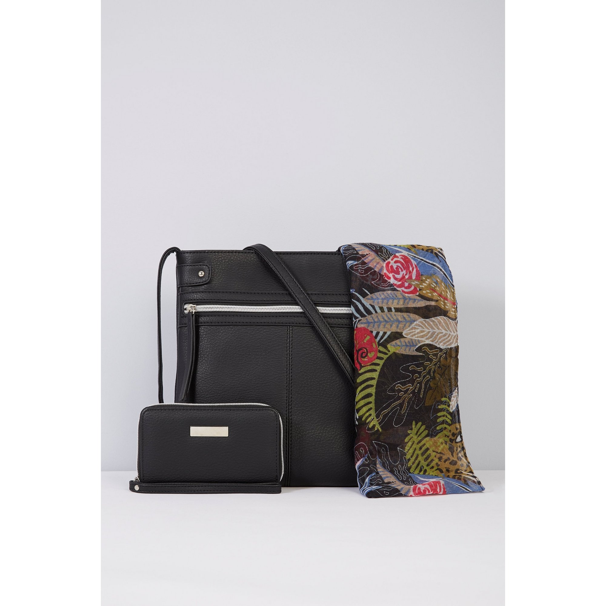 Image of 3-Piece Black Cross Body Bag&#44 Purse and Scarf Set