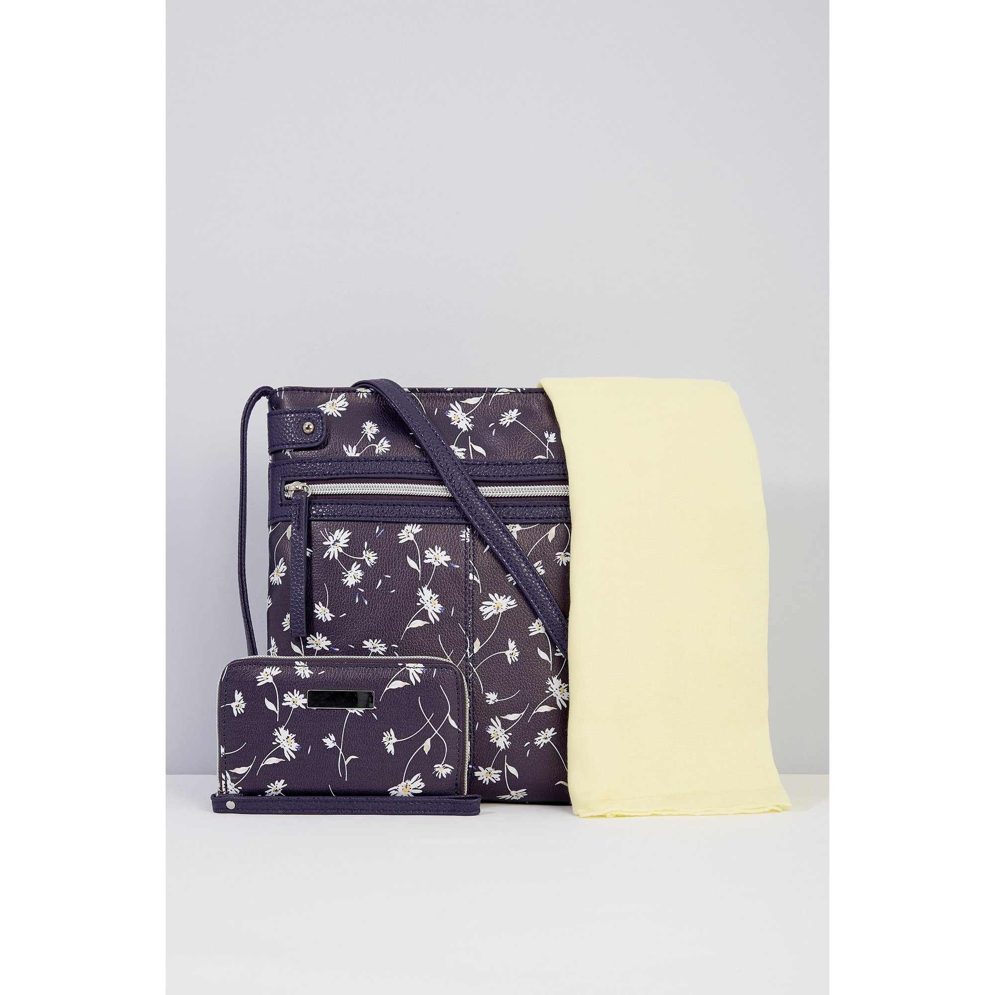Image of 3-Piece Daisy and Navy Cross Body Bag&#44 Purse and Scarf Set