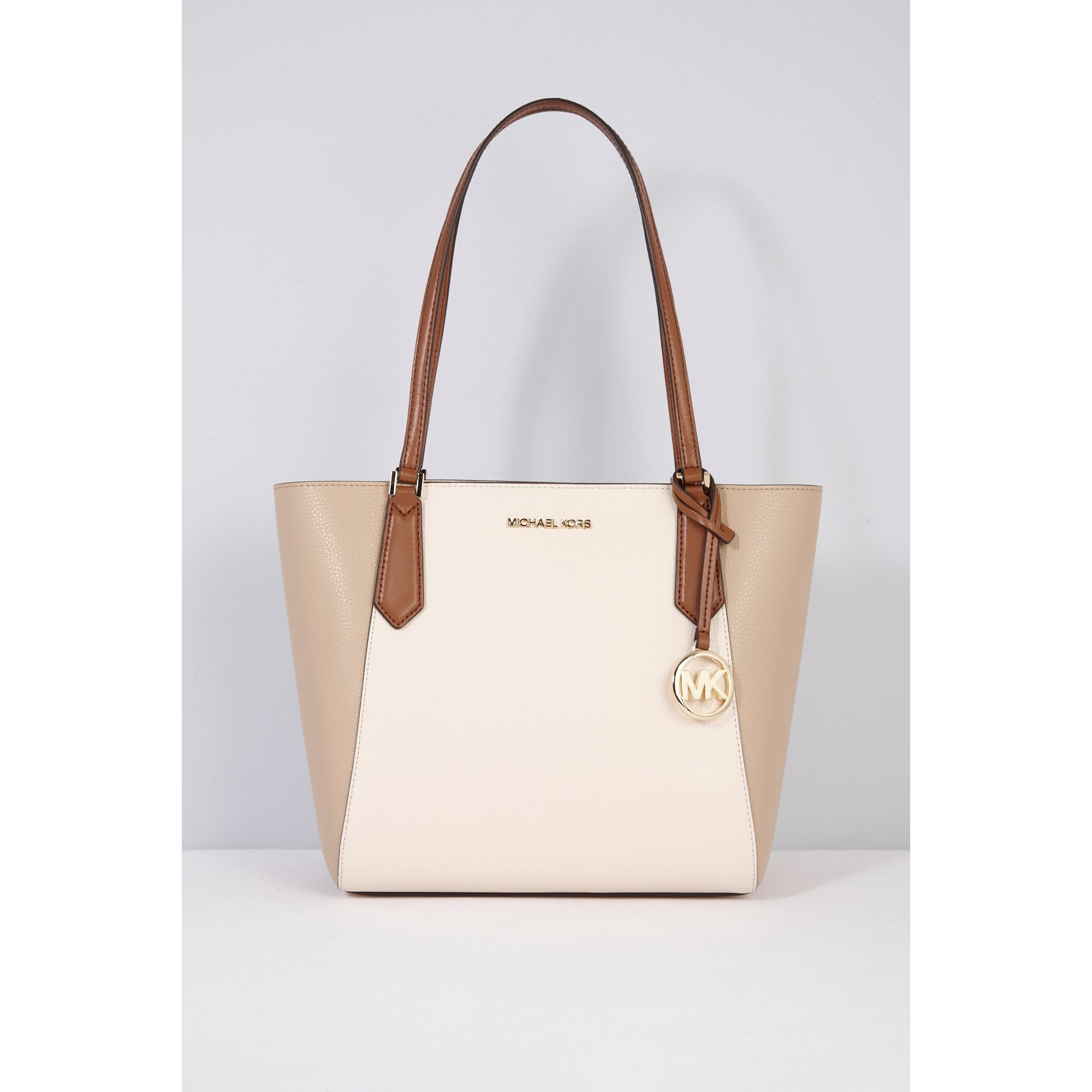 Image of Michael Kors Cream Kimberly Leather Tote Bag
