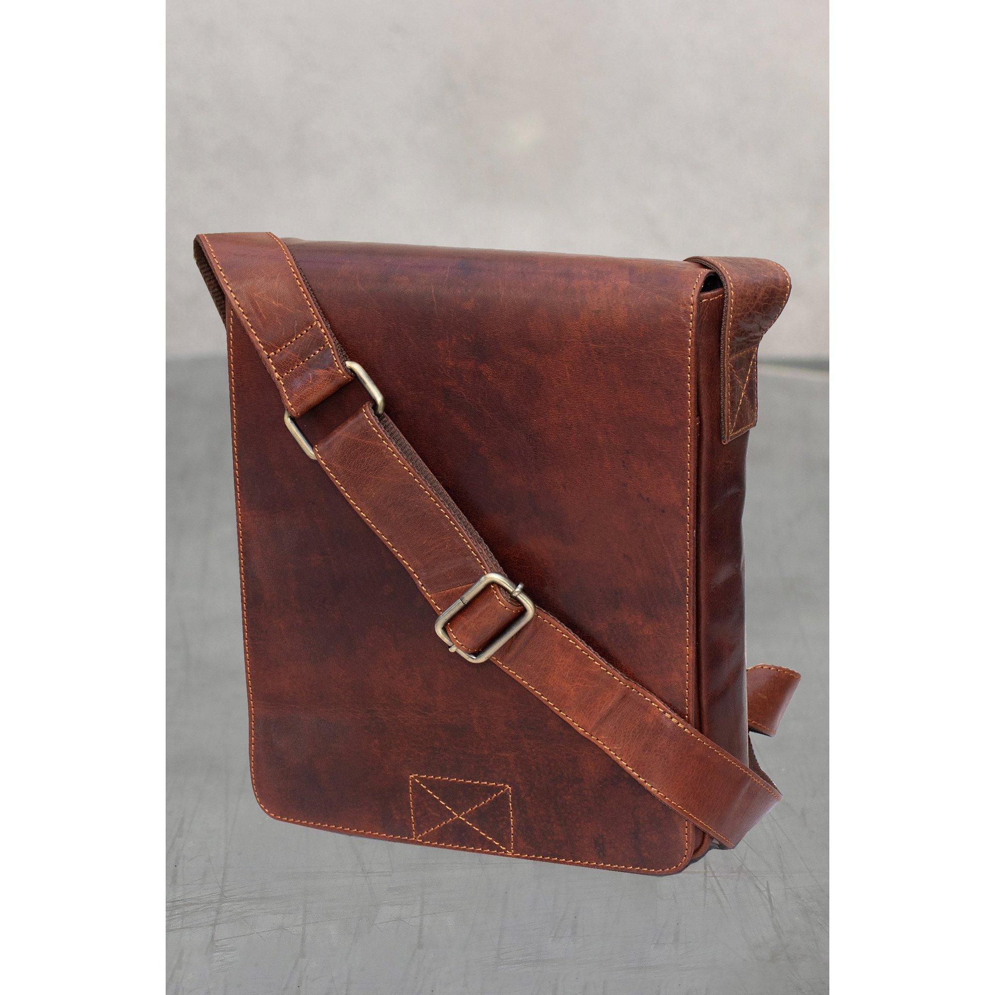 Image of Firelog Leather Messenger Bag
