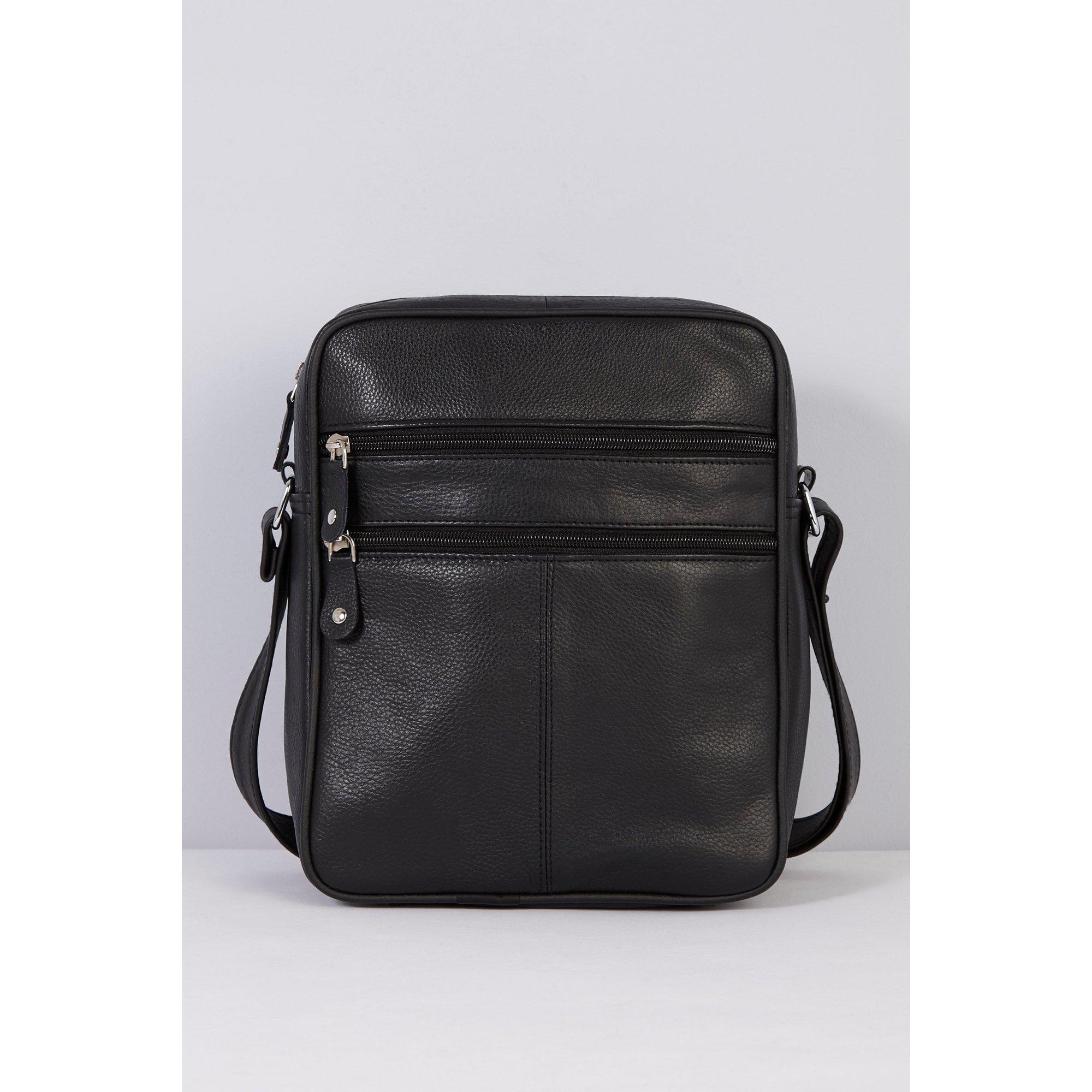Image of Firelog Black Leather Shoulder Bag