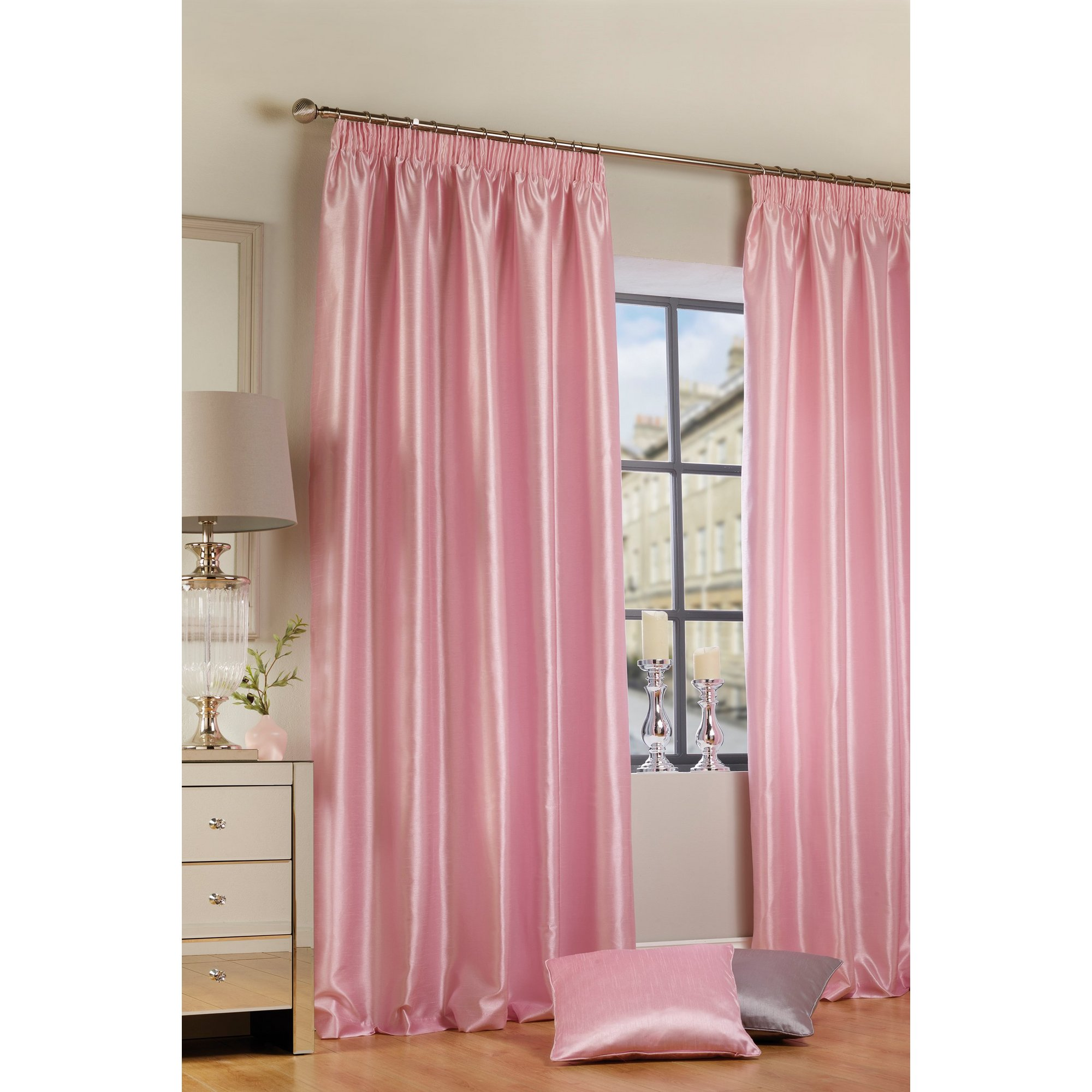 Faux Silk Lined Pencil Pleat Curtains