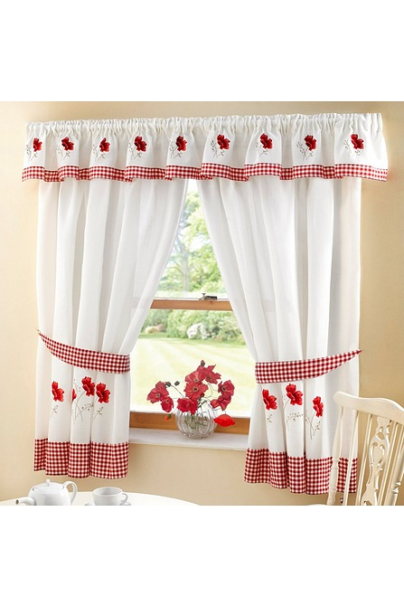 Embroidered Kitchen Curtains With Free Tie Backs Studio