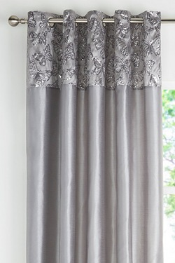 Butterfly Sequin Top Border Eyelet Curtains