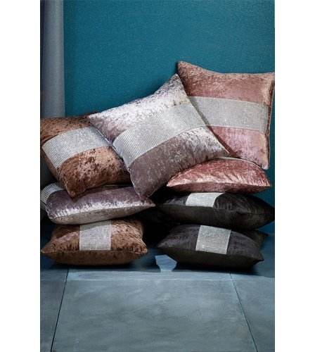 Pair Crushed Velvet Diamante Cushion Covers