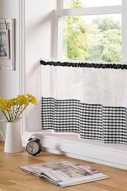 Gingham Caf Curtain Panels