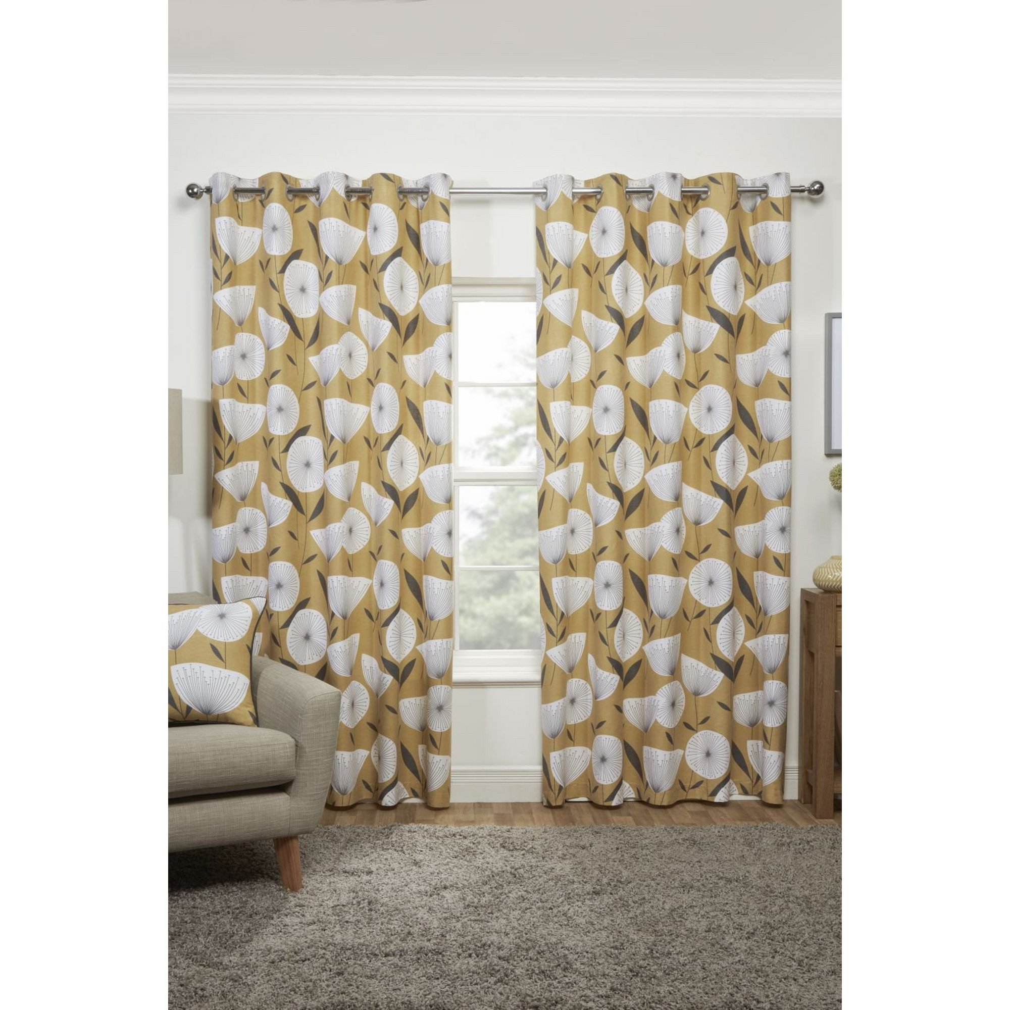 Image of Amelia Scandi Floral Lined Eyelet Cotton Curtains