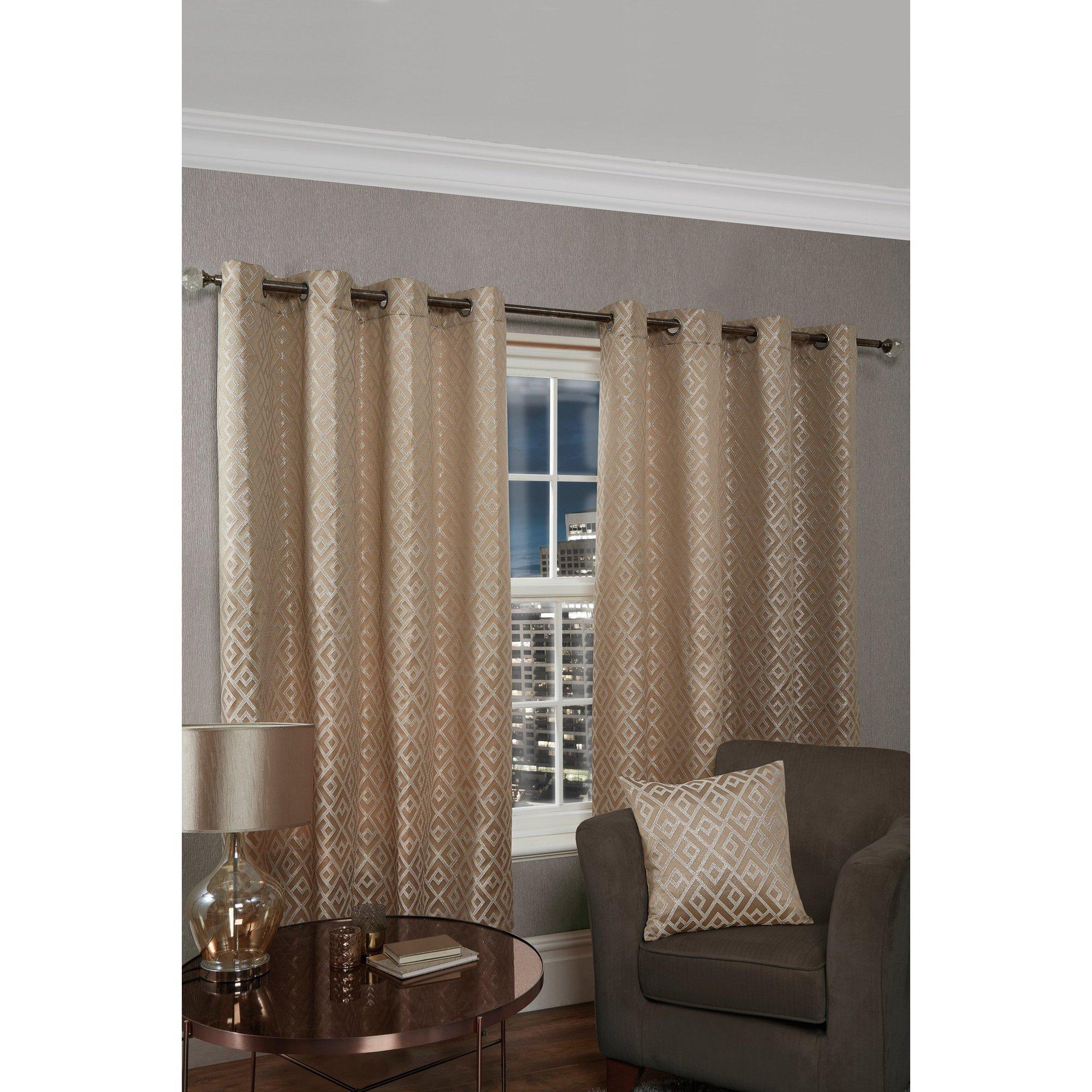 Image of Athens Metallic Geo Lined Eyelet Curtains