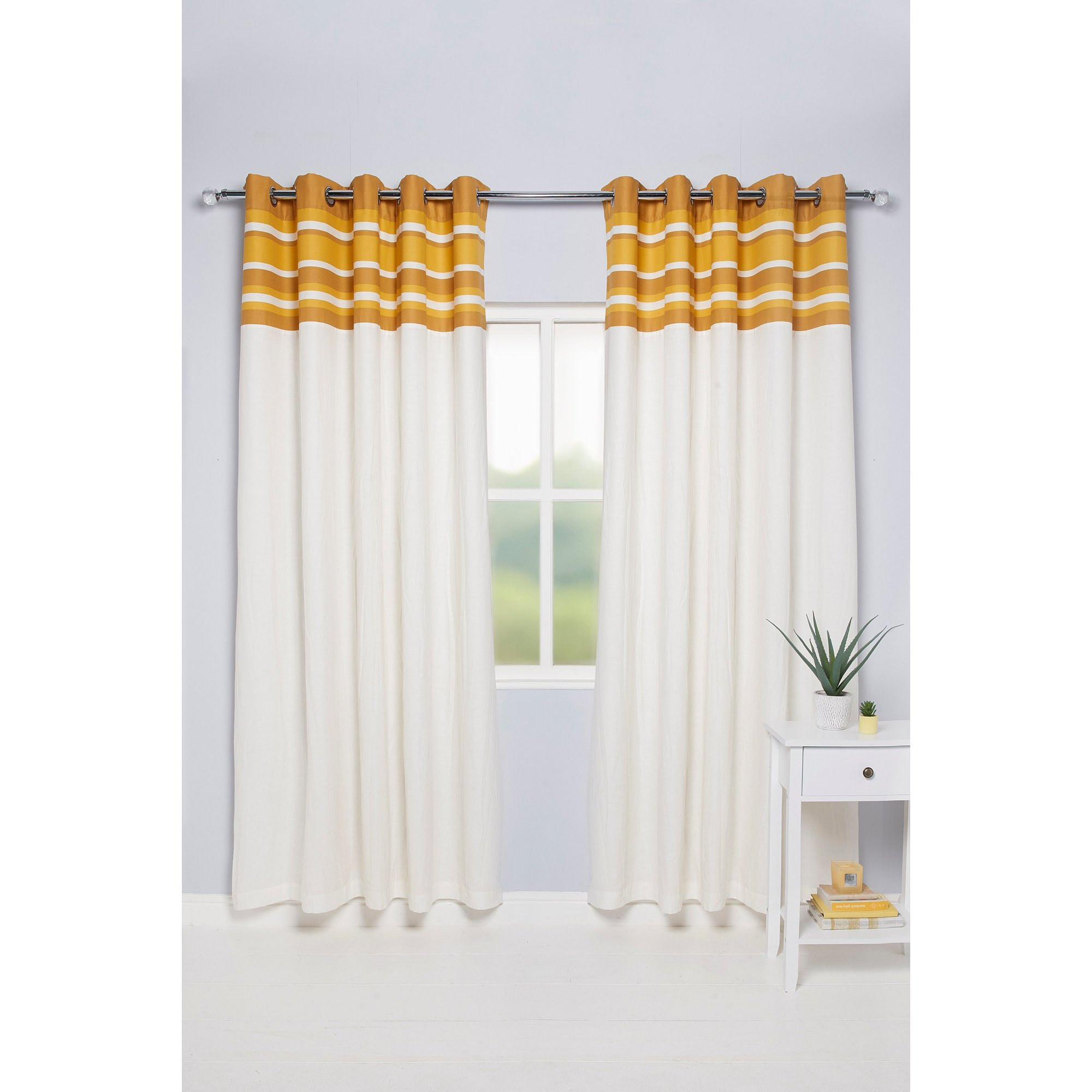 Oxford Striped Top Border Lined Eyelet Curtains