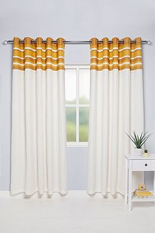Oxford Striped Top Border Lined Eyelet Curtains Studio