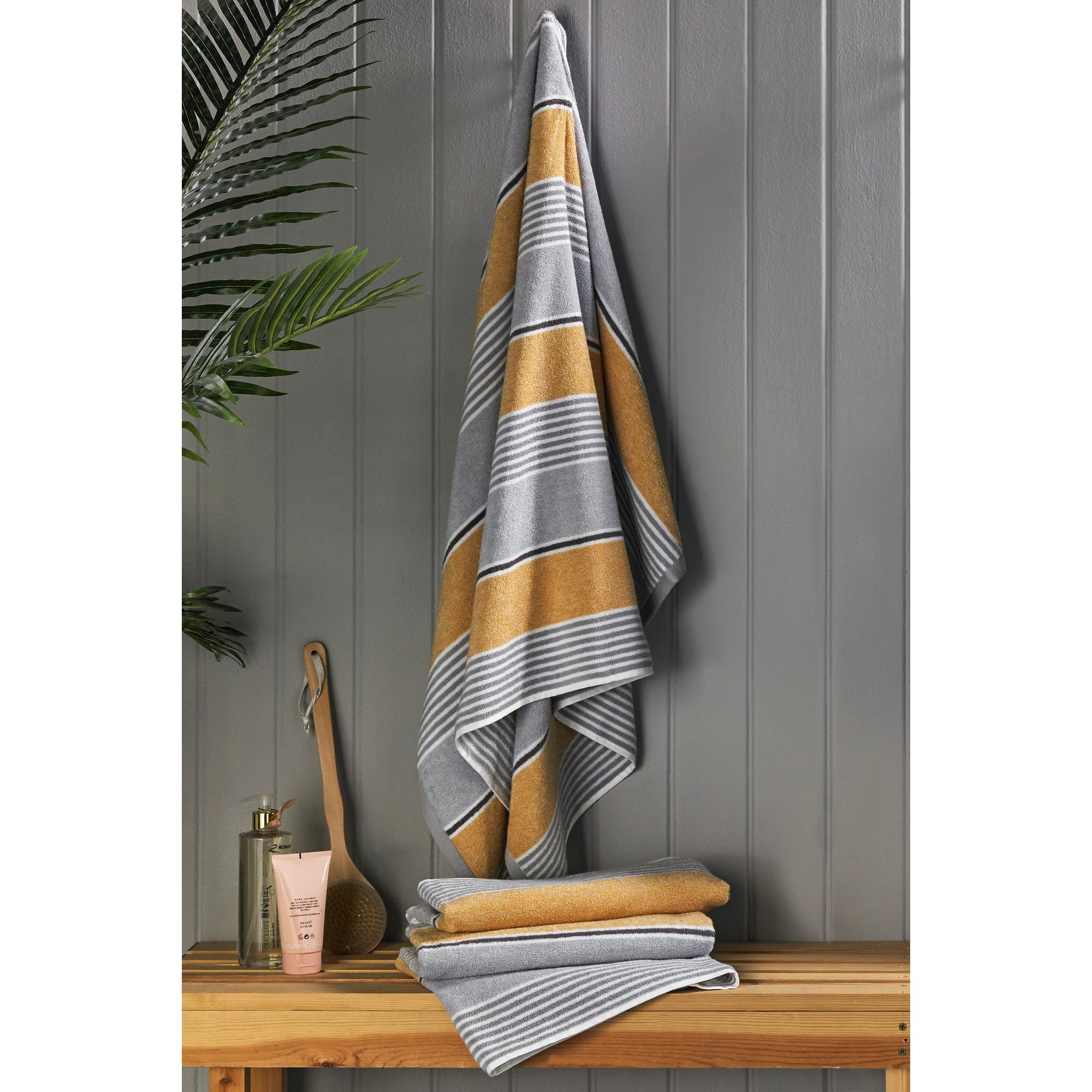 Image of Catherine Lansfield Textured Stripe 2 Pack Towels