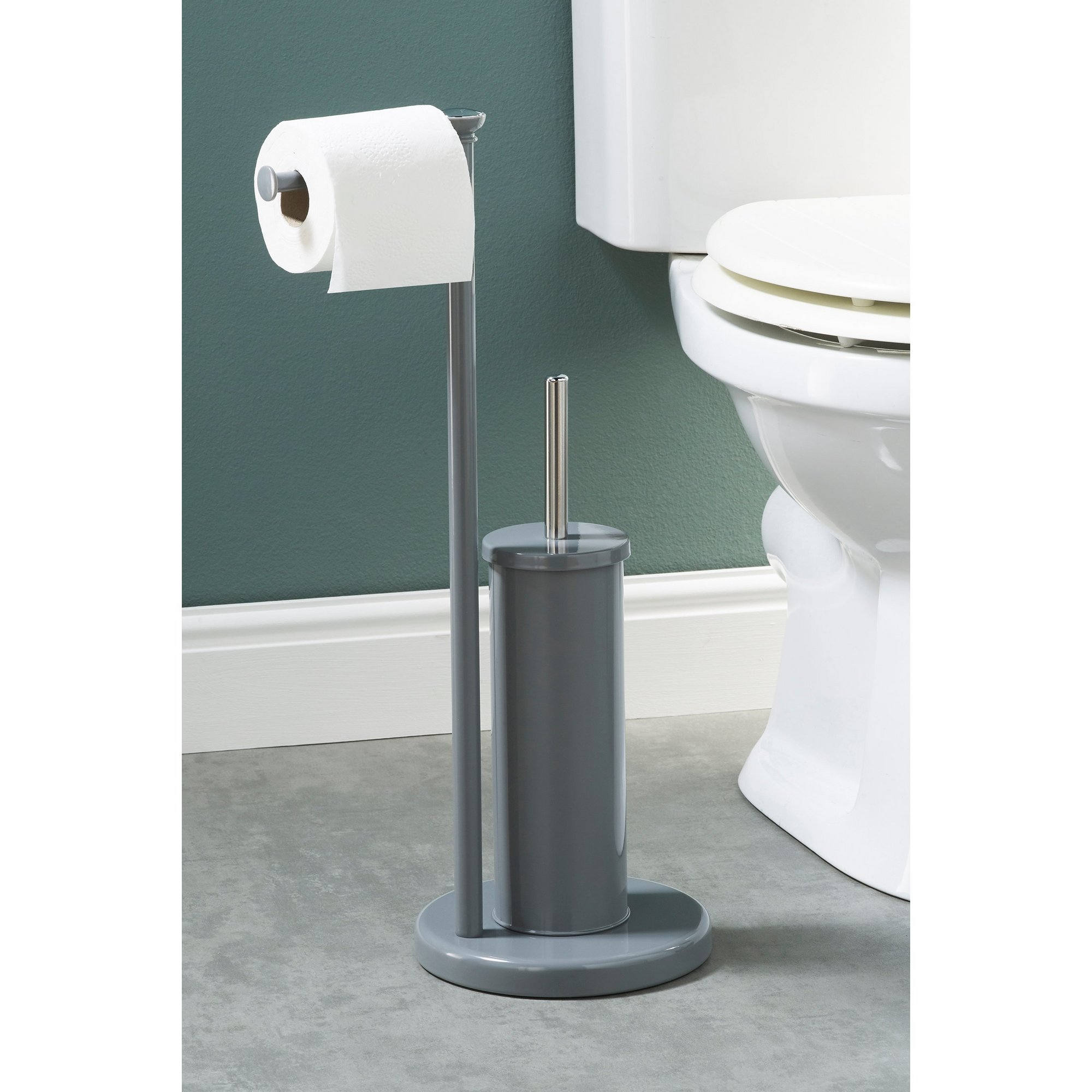 Image of 2 Piece Toilet Roll Holder and Brush Set
