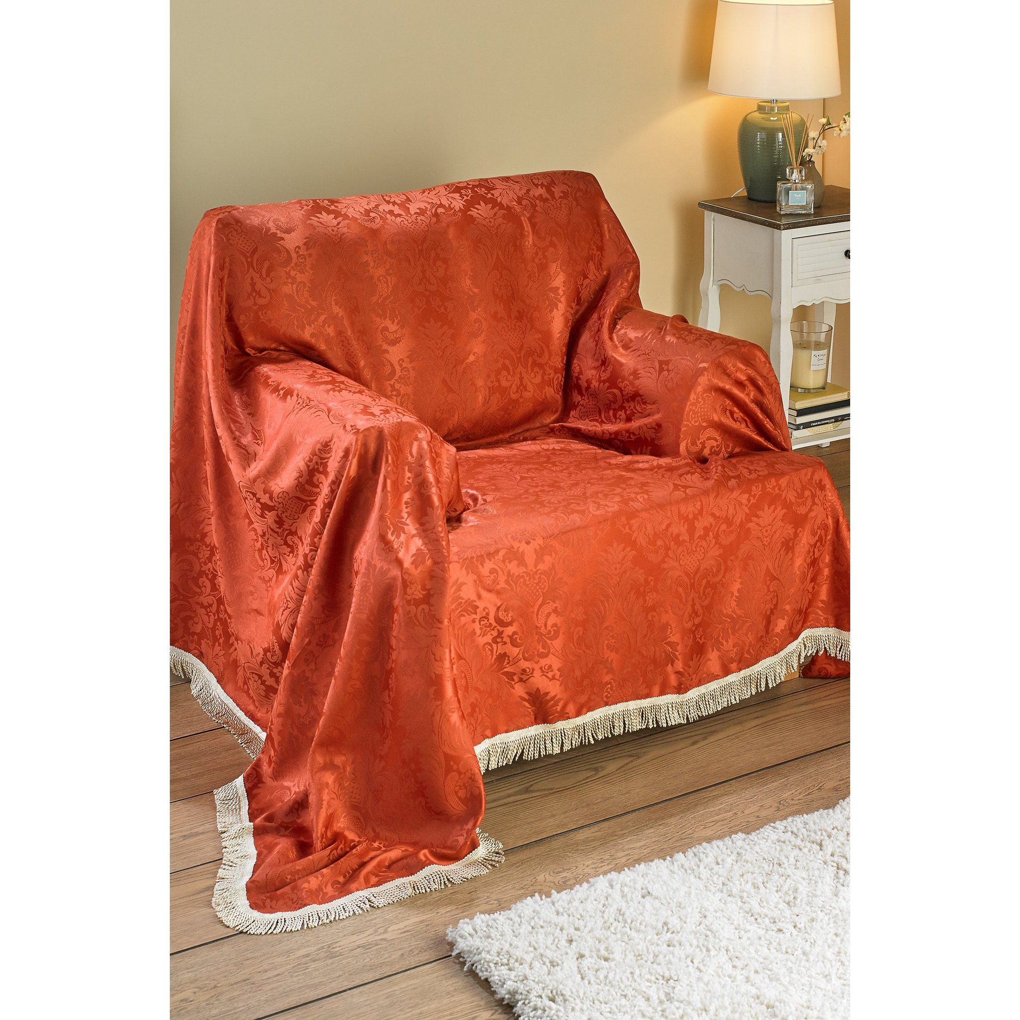 Image of Ascot Damask Fringed Sofa Cover