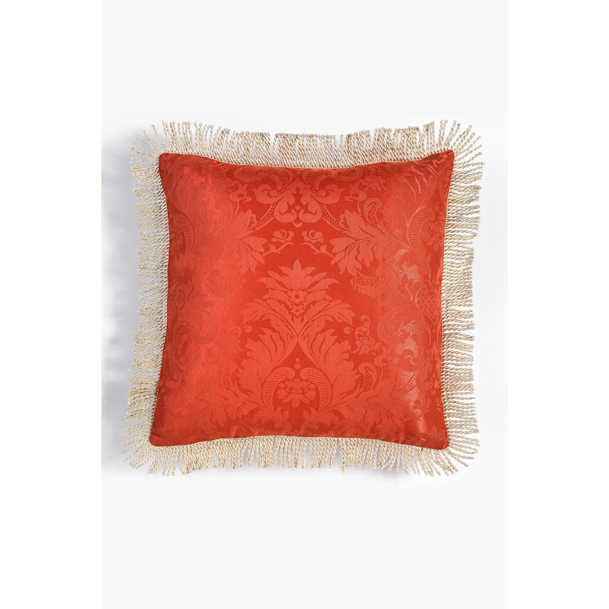 Image of Ascot Damask Fringed Filled Cushion