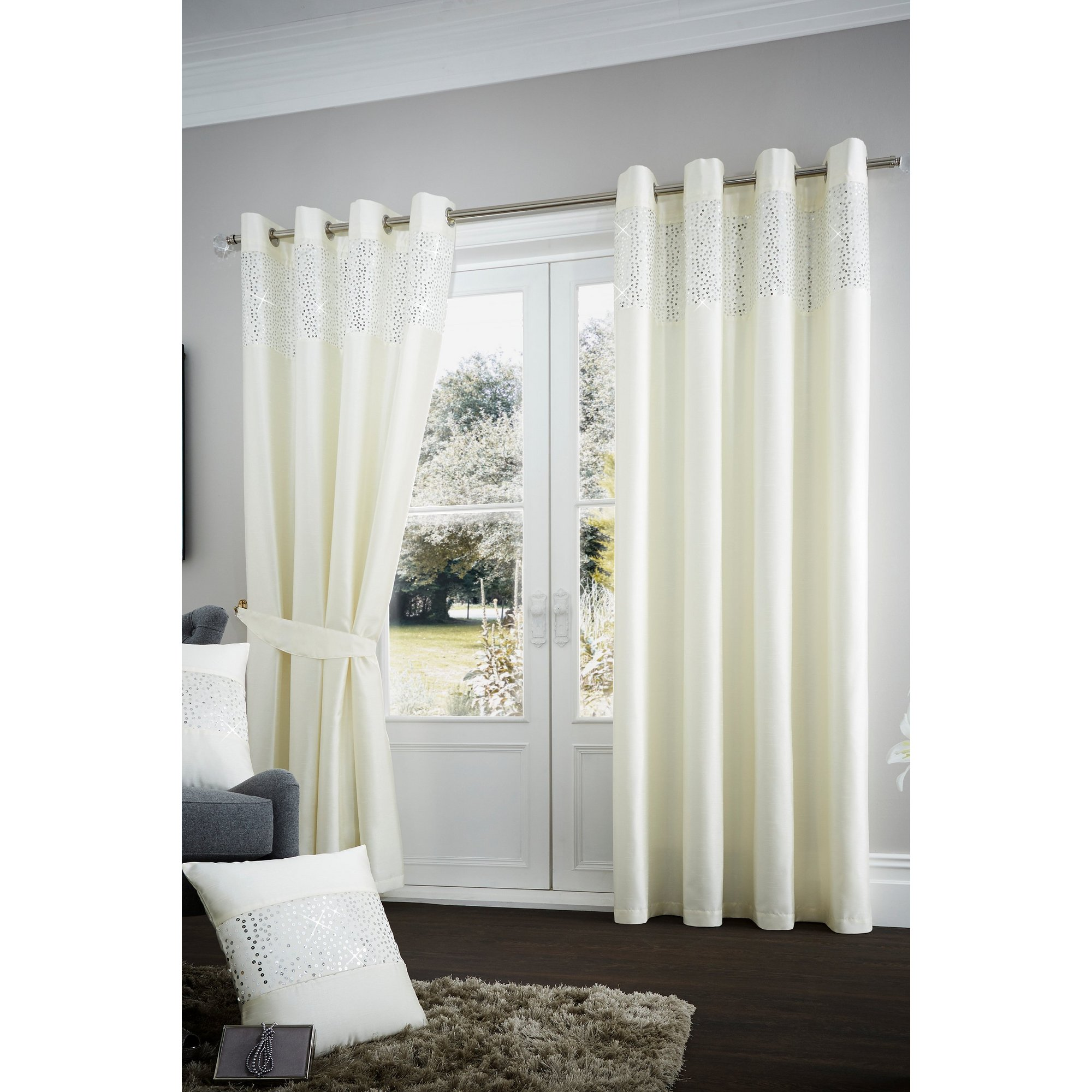 Image of Aviv Eyelet Lined Curtains
