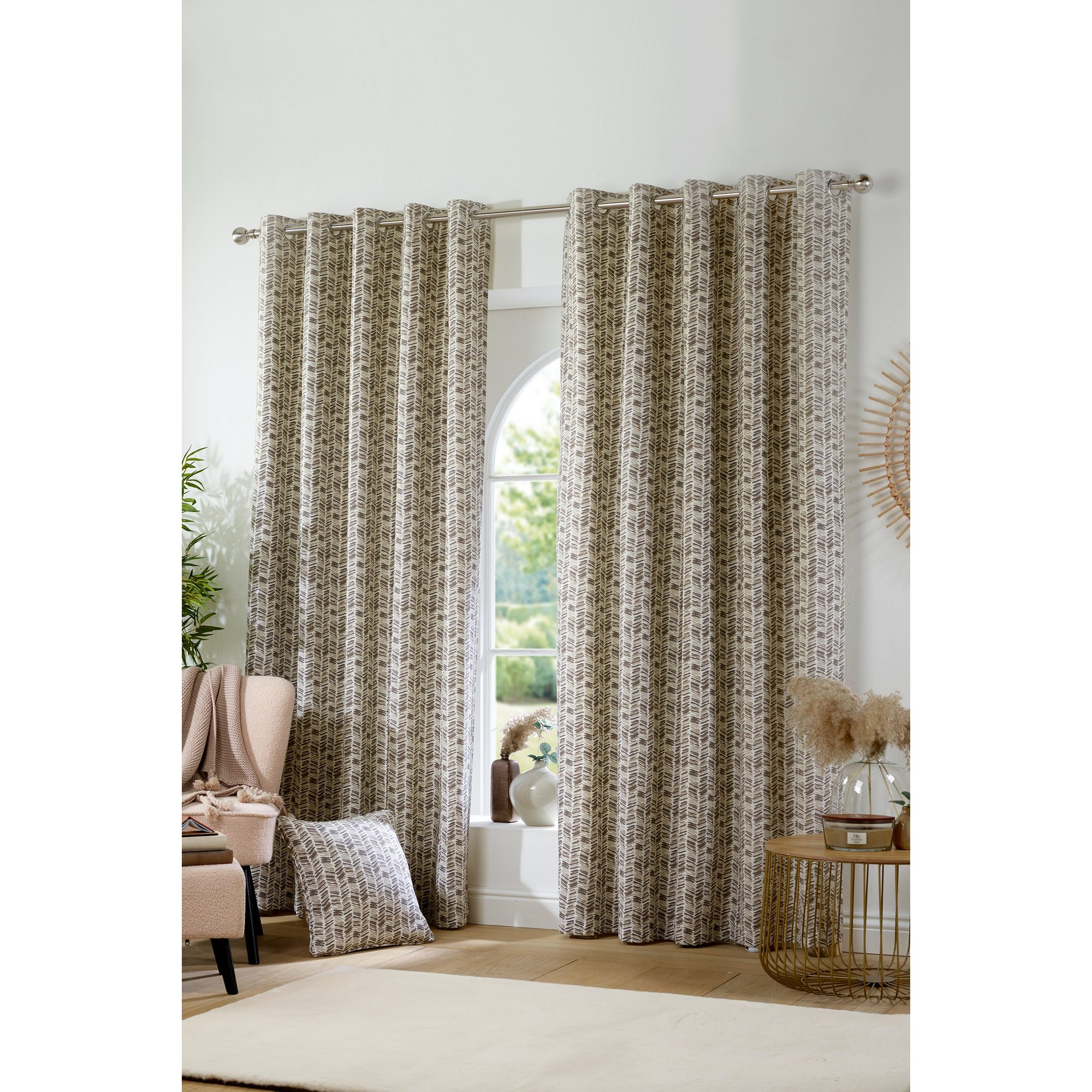 Image of Austin Printed Lined Eyelet Curtains