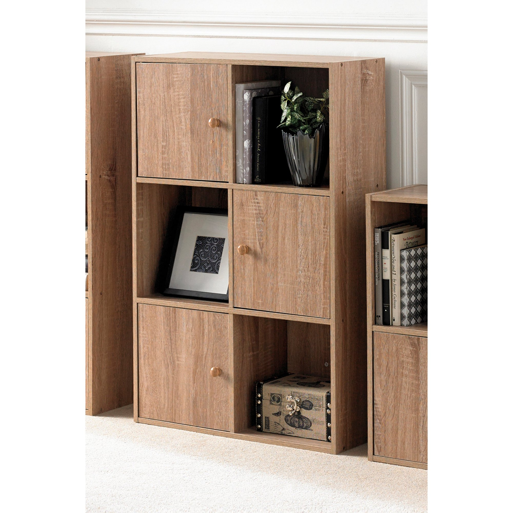 Image of 6 Cube Oak-Effect Storage Unit with Wood Doors