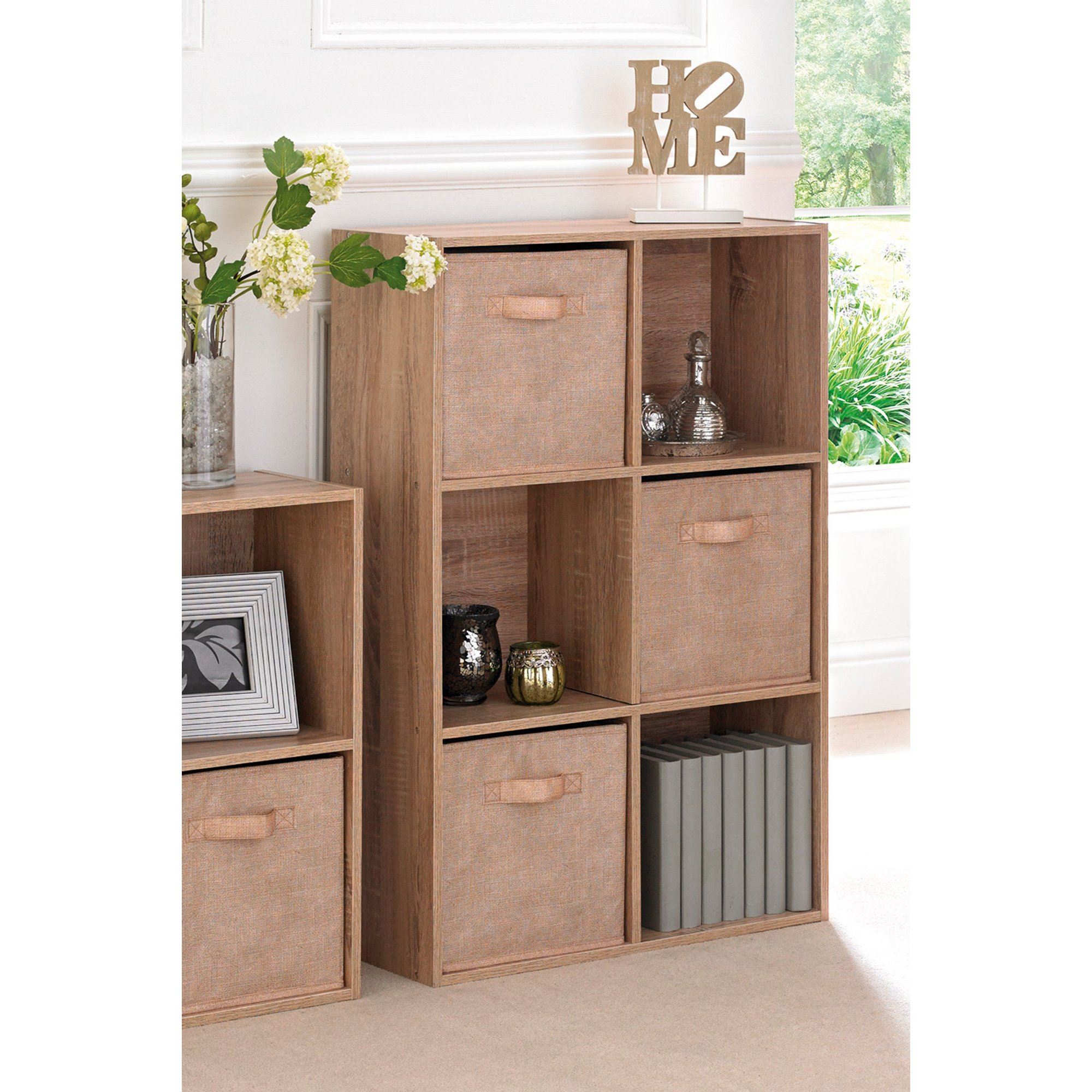 Image of 6 Cube Oak-Effect Storage Unit with Canvas Drawers