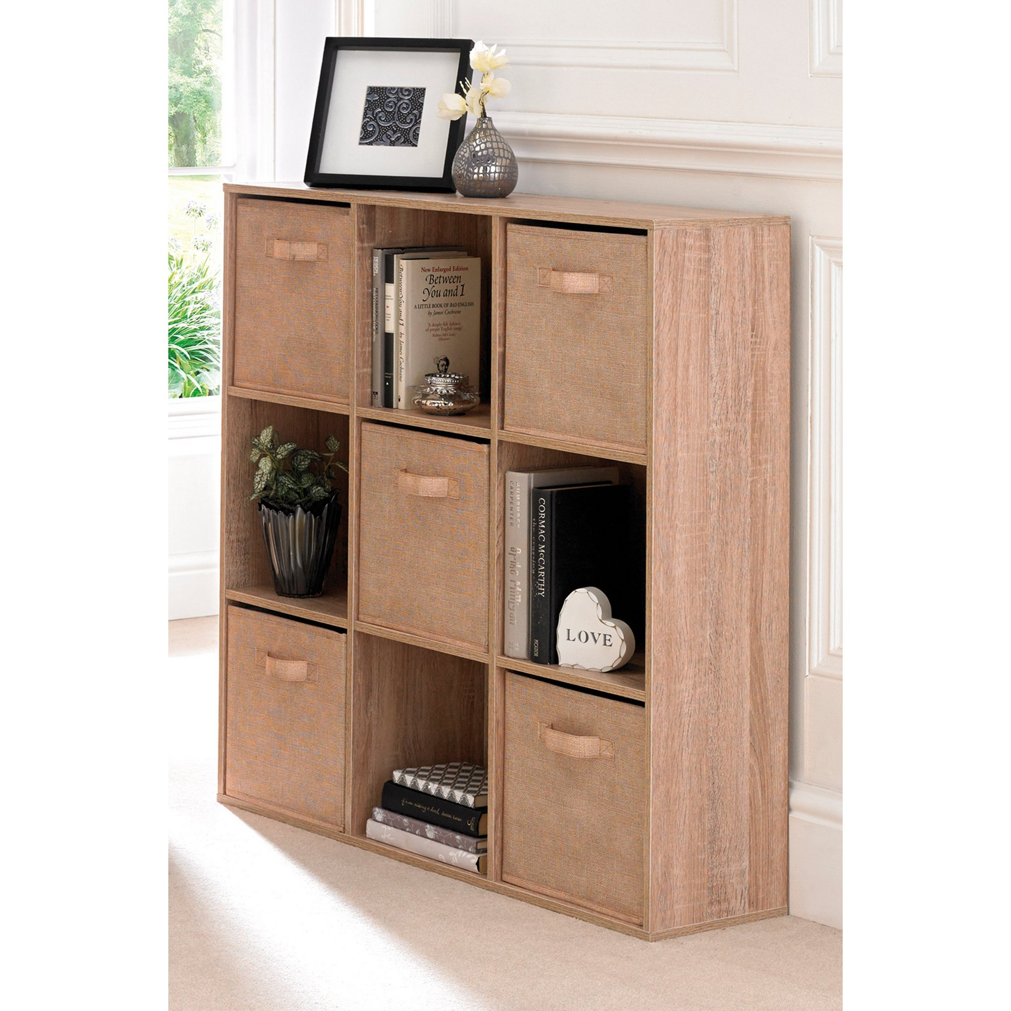 Image of 9 Cube Oak-Effect Storage Unit with Canvas Drawers