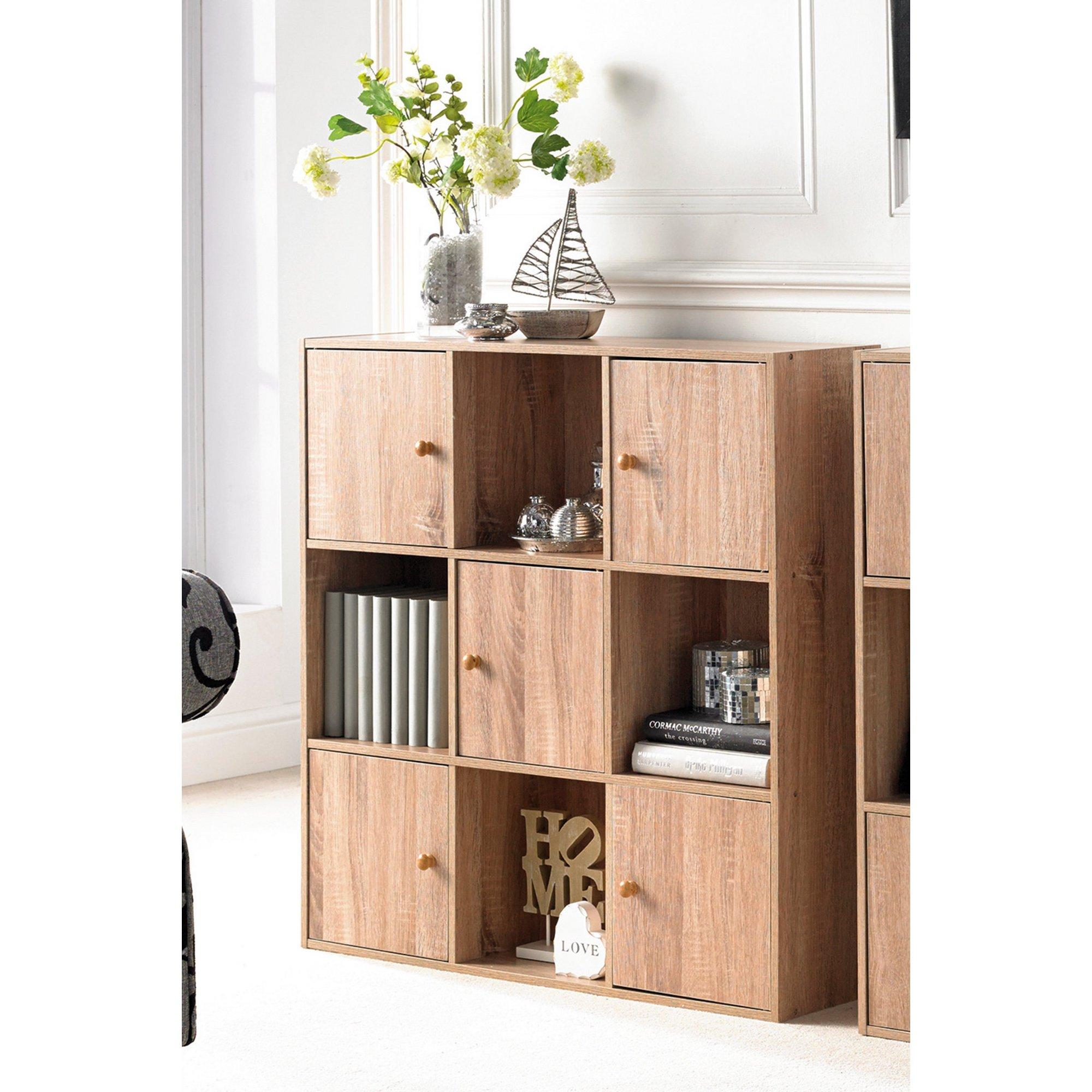 Image of 9 Cube Oak-Effect Storage Unit with Wood Doors