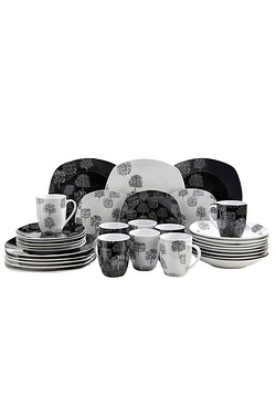 32 Piece Trees Mix and Match Square Dinner Set