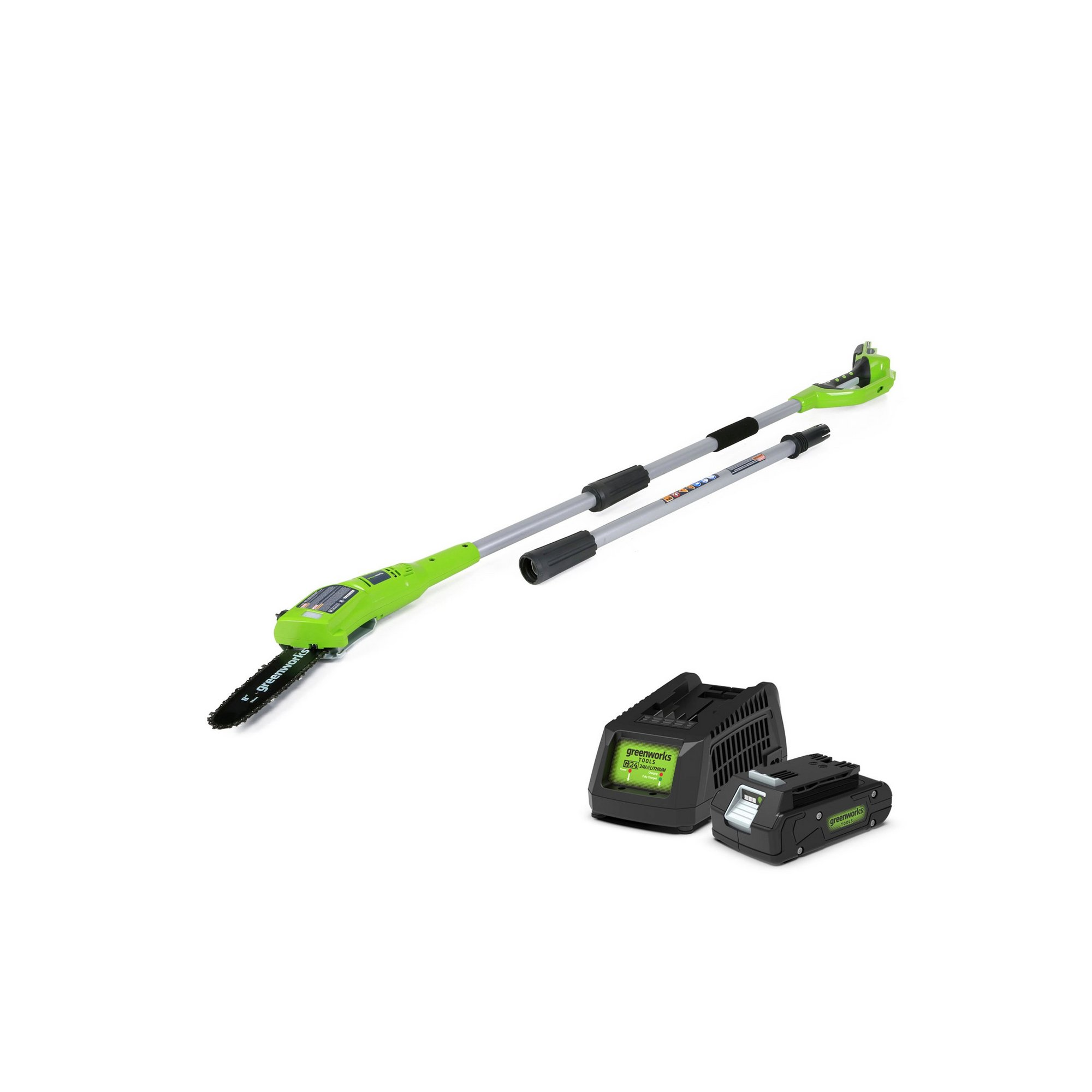 Image of Greenworks 24v 20cm Cordless Pole Saw with 2ah Battery and Charger