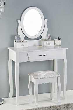 3 Drawer Dressing Table, Mirror and Stool Set