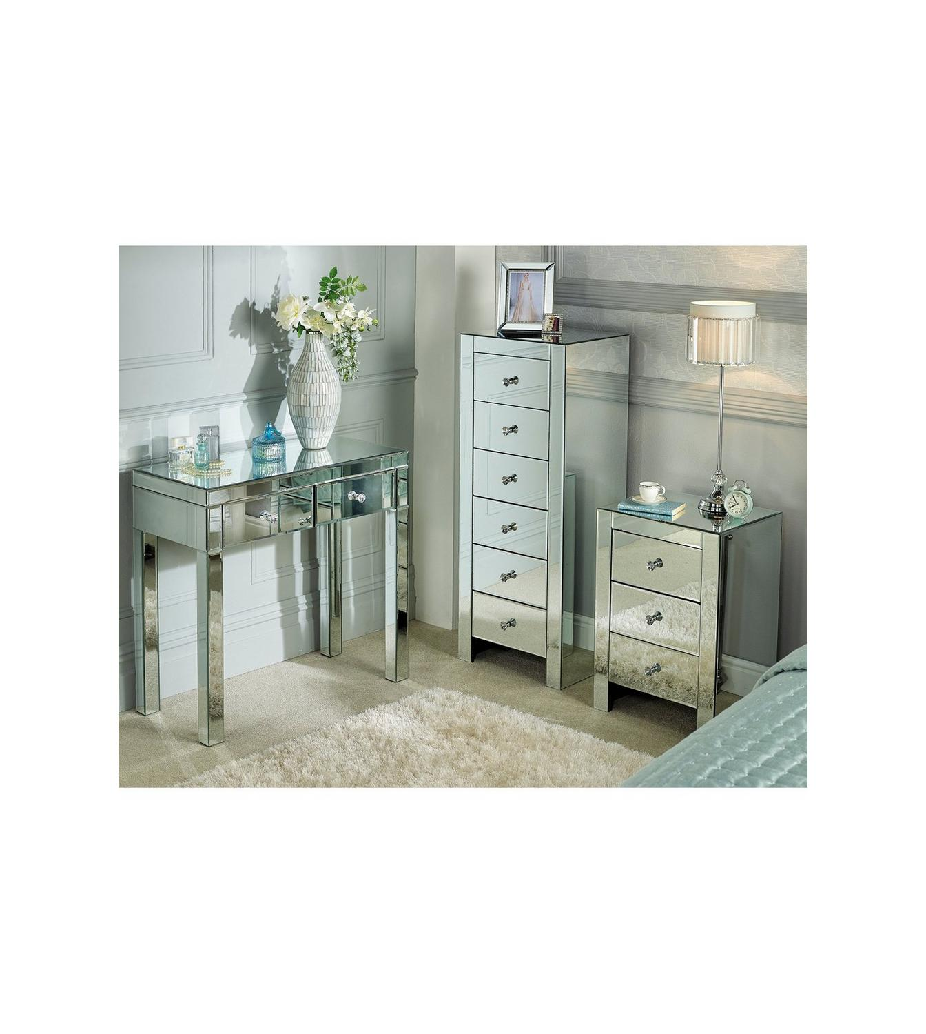 Image For Mirrored 3 Drawer Bedside Table From Studio