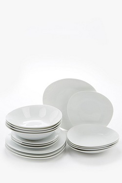 16+16-Piece FREE White Oval Dinner Set
