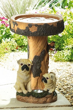 Pair Of Pugs Bird Bath With Solar Light