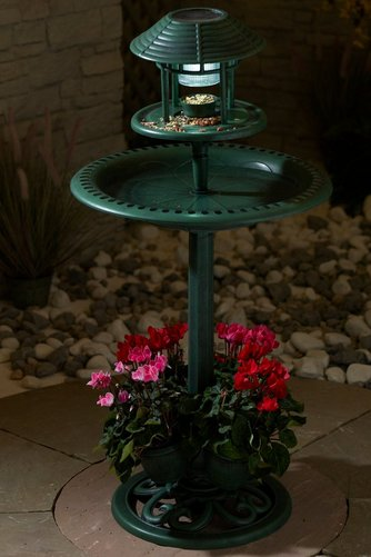 Bird Bath With Planter And Solar Light Studio