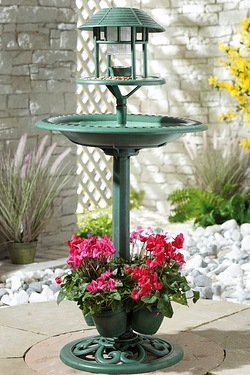 Bird Bath With Planter And Solar Light