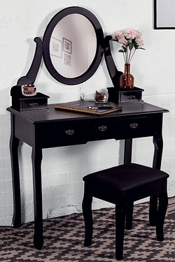 5 Drawer Dressing Table, Mirror and Stool Set