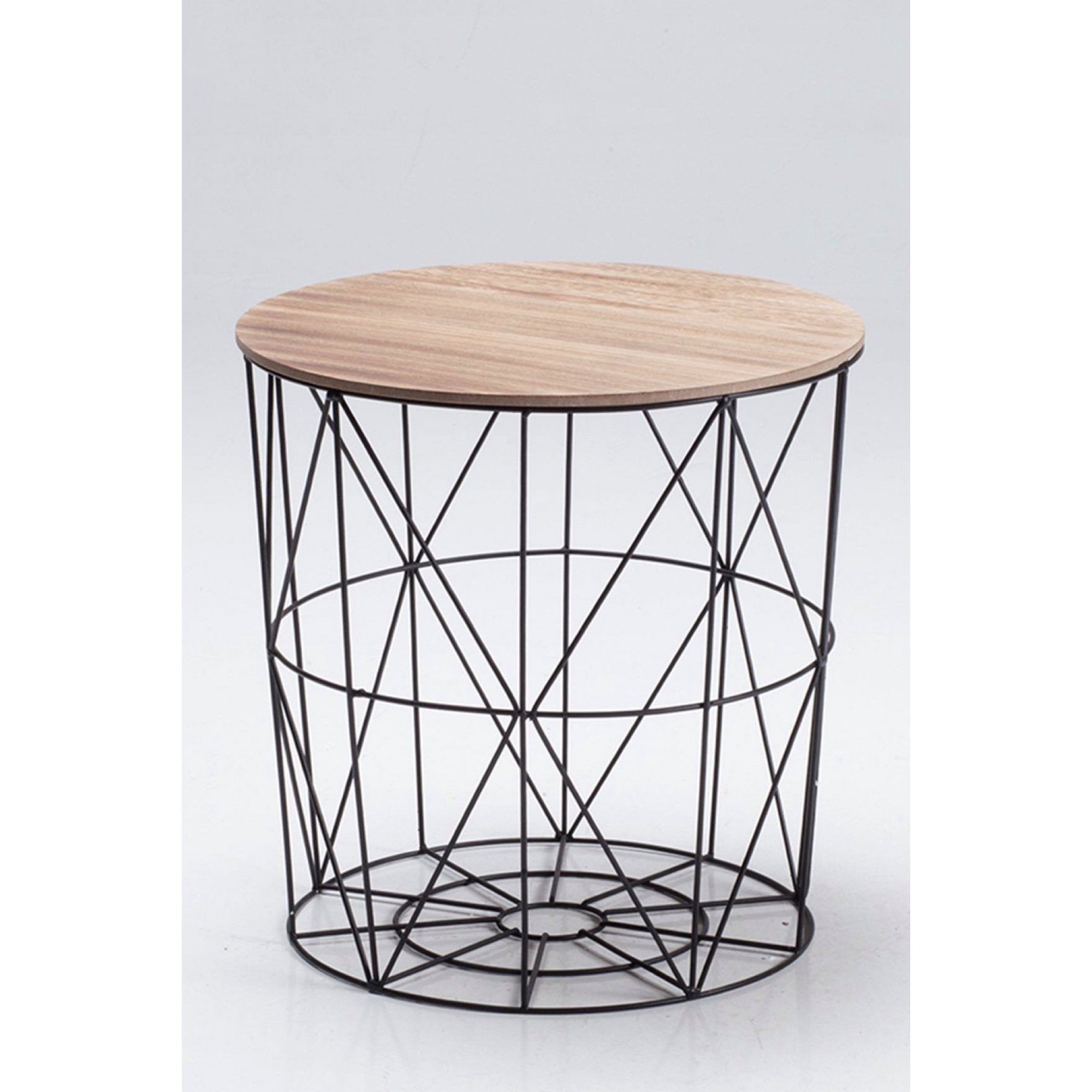 Image of Cosmo Black Cage Table with Oak Finish Top