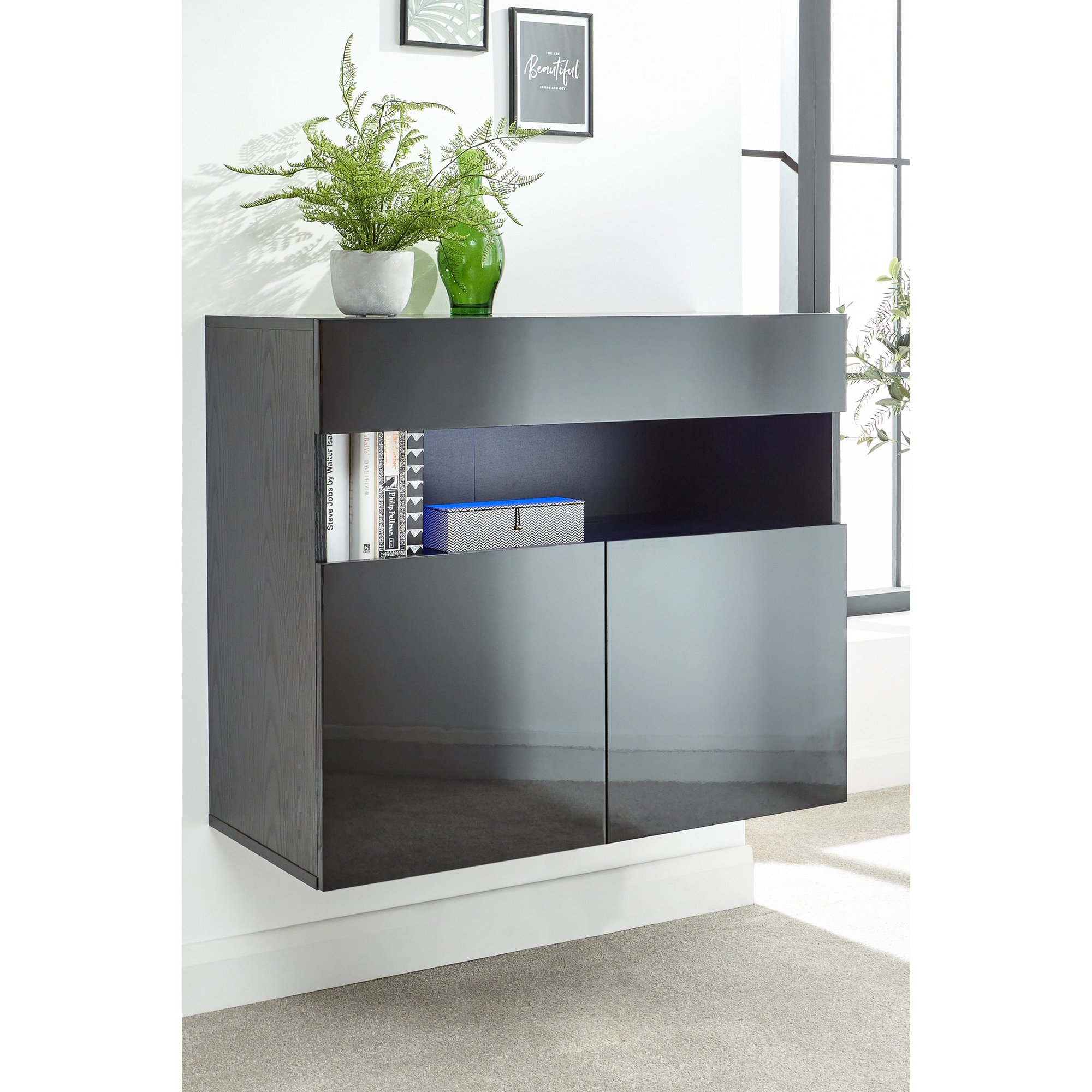 Image of Galicia Wall Mounted Sideboard with LED Lights